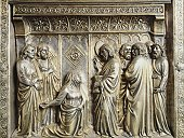 St John and St James' mother recommending her children to Jesus, panel of altar of St James, by Leonardo di Ser Giovanni (active 1358-1371), silver foil with embossed decoration, Chapel of Crucifix, Cathedral of St Zeno, Pistoia, Italy, 14th century
